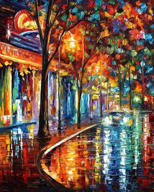 """坂井直樹の""""デザインの深読み"""": レオニード・アフレモヴは筆ではなくパレットナイフを使用して暖かい色を浴びたパリの街を描く。パリのストリート画家のようにネットで99$から購入できる。"""
