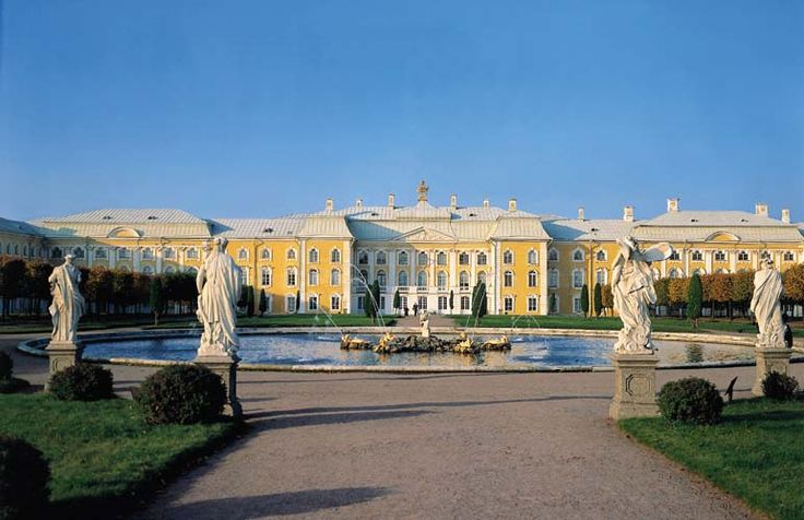 The Grand Peterhof Palace, pictured here, was built by Tsar Peter the Great on the Russian side of the Gulf of Finland. As a coastal palace, Peter designed it to celebrate the sea in all its glory.