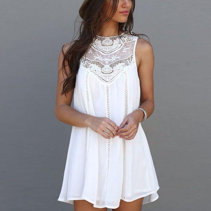 Summer Casual Lace Short Beach Mini Dress - CoolTrendyStuff