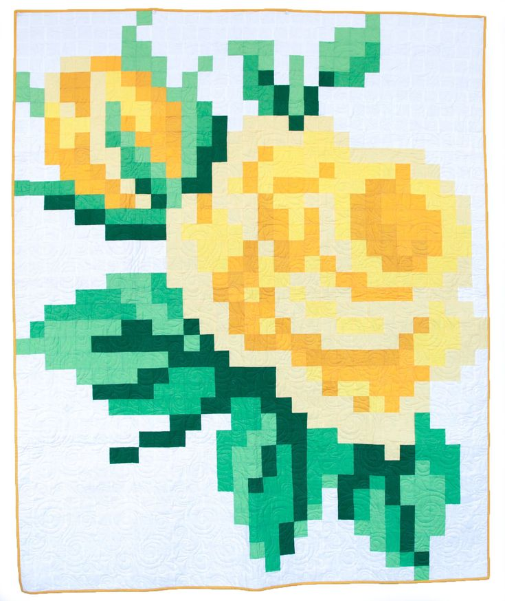 Yellow Pixelated Rose Quilt