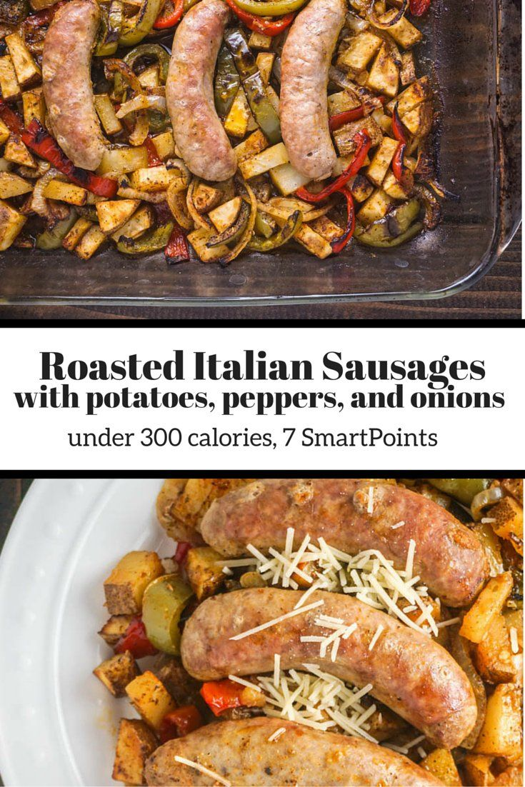 Roasted Italian Sausages with Potatoes, Peppers, and Onions - Slender ...
