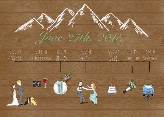 Een creatieve en unieke bruiloft programma!  Deze ontwerp-prijs is inclusief een bruiloft programma/tijdlijn speciaal gemaakt voor jou.  Ik zal uw