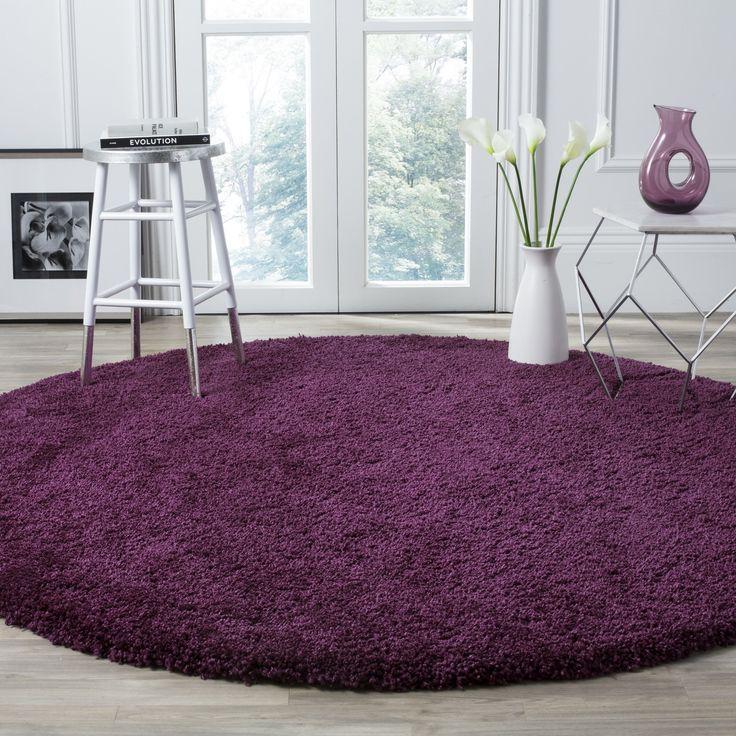 Safavieh Santa Monica Purple Shag Rug (7' Round) (SGN725-7373-7R), Size 7' (Polyester, Solid)