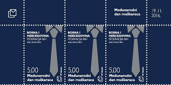 Croatian Post Mostar issued postage stamp celebrating International Men's Day on November 19th, promoting gender equality, and improving gender relations.