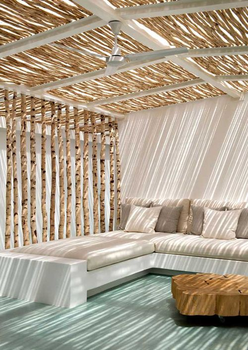 wood + white outdoor lounge