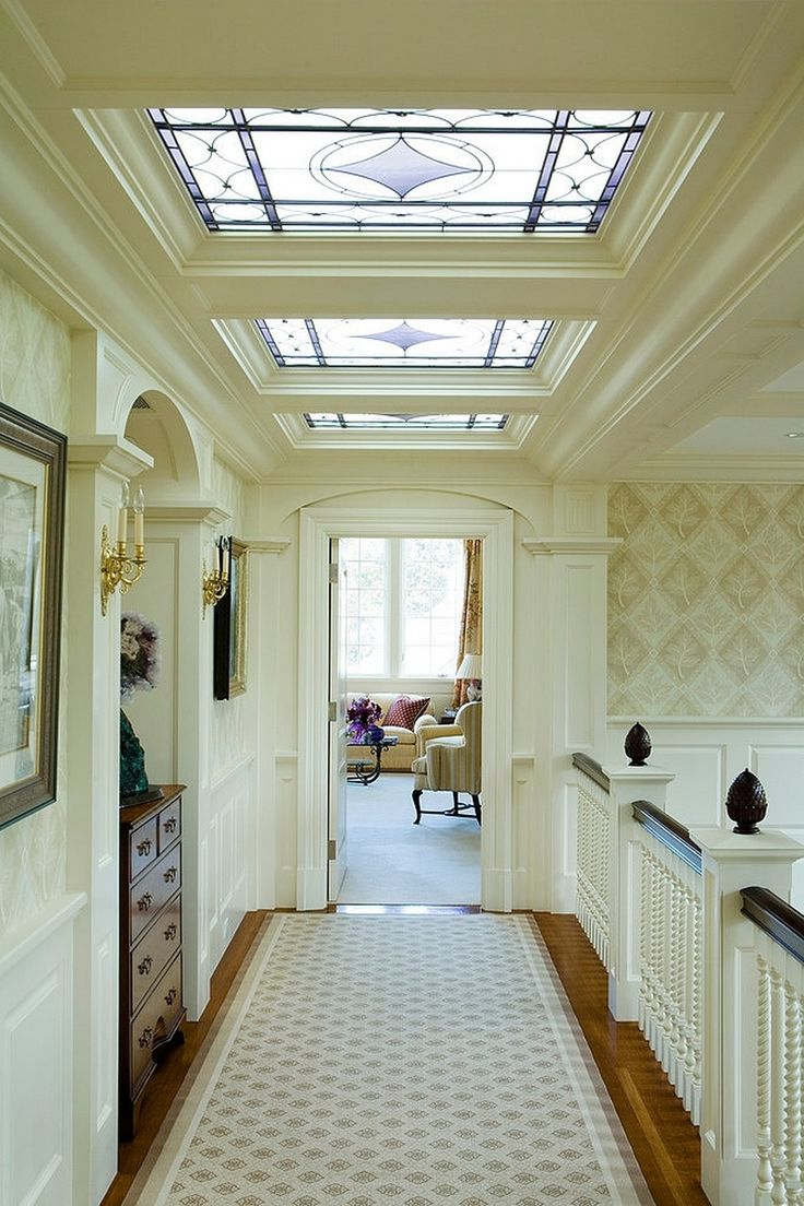 Bright White Hallway With Mosaic Ceiling Windows And White Balustrade Also Classic Armoire And A Long Rug Along With Lovely Mounting Sconces Decoration Classic American white house with luxurious interior details Home design Classic American white house with luxurious interior details http://seekayem.com