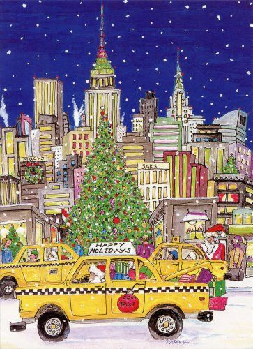 Santas taxi new york boxed holiday cards easy street publications