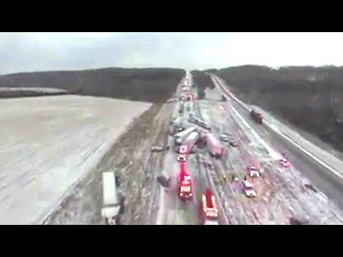 Drone video shows aftermath of 50-car pile-up in Missouri  Incredible drone video that was shot by volunteer firefighters shows the aftermath of a massive car crash that occurred near Marshfield Missouri. Firefighters say 50 to 100 cars were involved in the pile-up.  Subscribe to the CBS News Channel HERE: http://youtube.com/cbsnews Watch CBSN live HERE: http://cbsn.ws/1PlLpZ7 Follow CBS News on Instagram HERE: http://ift.tt/2DYzvo4 Like CBS News on Facebook HERE: http://ift.tt/2DqWxmH…