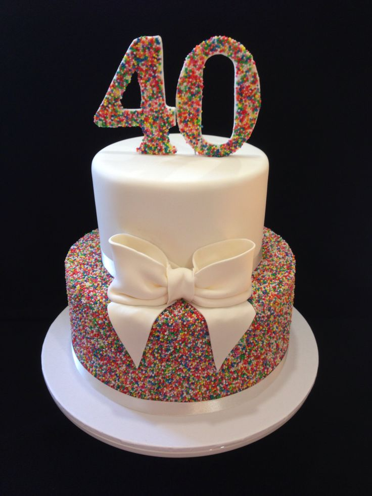 40th Birthday cake 100's & 1000's love this look hundreds and thousands made by @sweetsbysuzie Melbourne