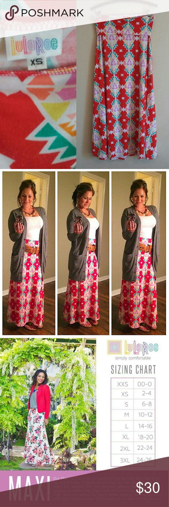 """LuLaRoe Aztec Print Maxi Stretchy red, turquoise, pink, orange and yellow Aztec print maxi skirt from LuLaRoe. Foldover waistband. About 39"""" long, 29"""" waist unstretched. Can be made longer a bit by folding the waist over less. There are many Youtube videos showing the multiple ways to wear this skirt. The last photo (taken from Pinterest) shows a few. 96% spun polyester, 4% spandex. Machine washable. Excellent used condition. LuLaRoe Skirts Maxi"""