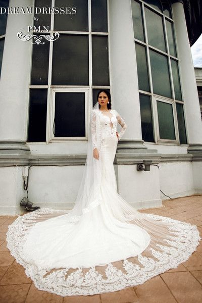 Long Sleeve Wedding Dress with Cathedral Train (Style #PB067) - Dream Dresses by P.M.N  - 1