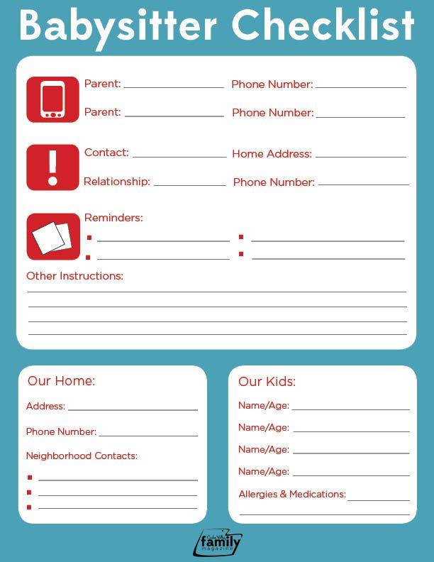 babysitting checklist - Onwebioinnovate