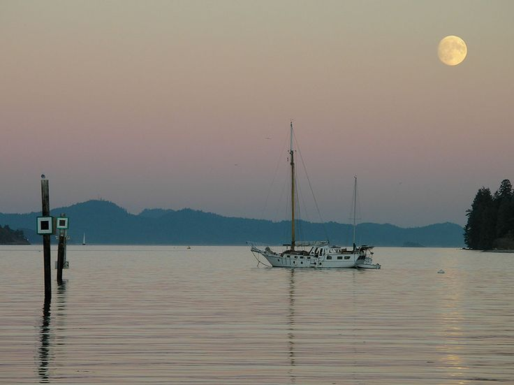 Full moon and Sailboat, Ganges, Salt Spring Island, BC
