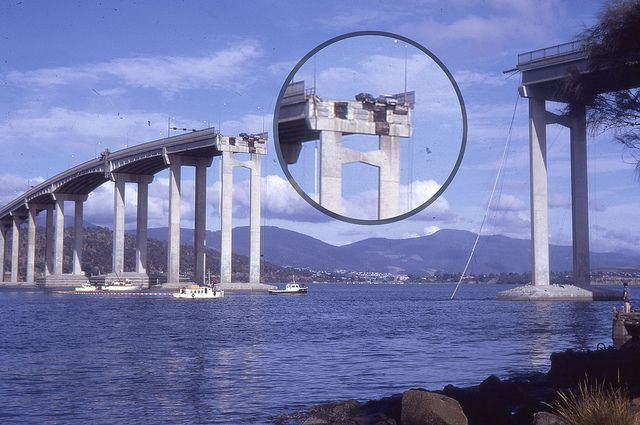 Two cars hang precariously on the Tasman Bridge in Hobart Tasmania 1975. by bcshort, via Flickr