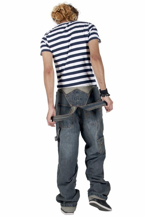 Bleu Bolt Baggy and oversized fit men's vintage wash dungarees from Dungarees Online.