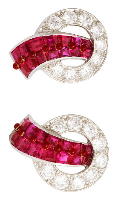 Cartier ~ 1930s Pair of Art Deco invisibly-set ruby and diamond clip earrings mounted in platinum