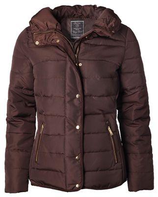 Geisha GT5459 Padded jacket brown Winterjas met hoge kraag, twee steekzakken en goudkleurige ritssluiting en drukknopen.