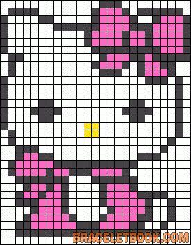 Hello Kitty kawaii bow perler bead pattern