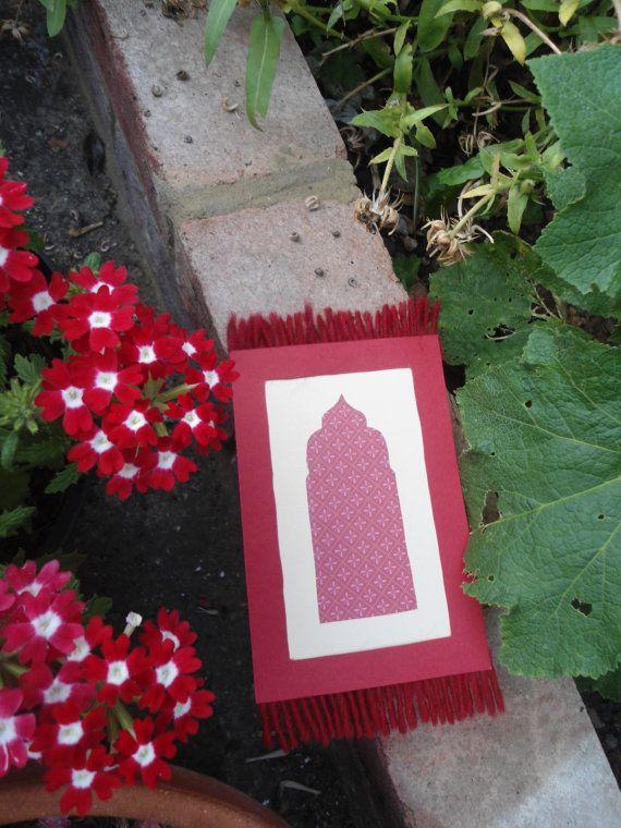 Prayer Mat Eid Card (Handmade, 14.8 x 10.5 cm) with Envelope. Cream and Red. £1.35. www.etsy.com/uk/shop/shamimtree