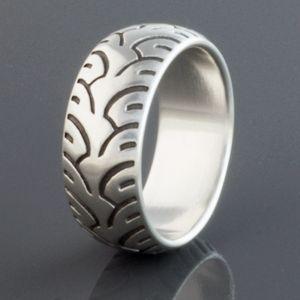 brian bergeron designs ring motorcycle tire fat - Biker Wedding Rings