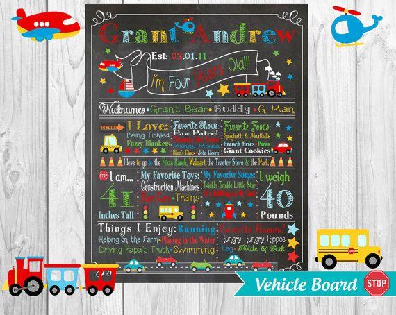 Car Cars Signs Transportation ChalkBoard Wall Art, Toddler Vehicle Any Age Birthday Poster Keepsake Chalk Board Wallart Custom Personalized by EnchantedPixelDust on Etsy https://www.etsy.com/listing/262757499/car-cars-signs-transportation-chalkboard