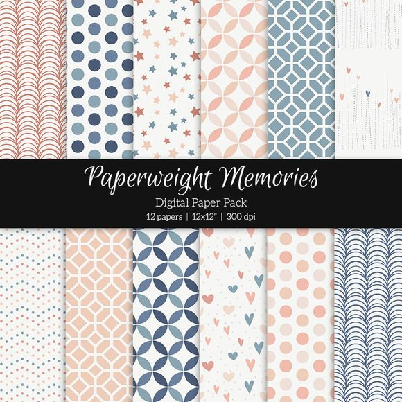 Patterned Paper - Midnight Blush by Paperweight Memories on @creativemarket ... https://crmrkt.com/mWpdy