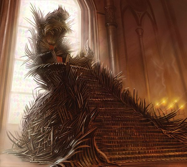 """Have you ever seen the Iron Throne? The barbs along the back, the ribbons of twisted steel, the jagged ends of swords and knives all tangled up and melted? It is not a comfortable seat, ser. Aerys cut himself so often men took to calling him King Scab, and Maegor the Cruel was murdered in that chair. By that chair, to hear some tell it. It is not a seat where a man can rest at ease. Ofttimes I wonder why my brothers wanted it so desperately."" – Stannis Baratheon, to Davos Seaworth"