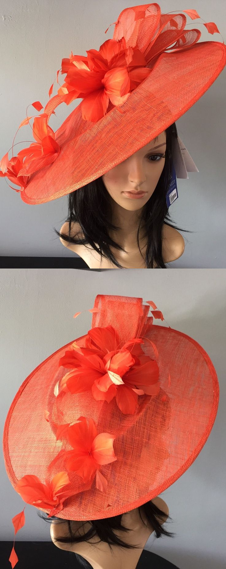 Peter Bettley Orange Large Feathered Saucer Slice Designer Hat Fascinator Hatinator, for Kentucky Derby, Del Mar, Epsom, Royal Ascot, Melbourne Cup. Day at the Races, Dubai World Cup fashion outfit ideas + inspiration. Wedding guest outfits, Mother of the bride. Fashions on the Field. #kentuckyderby #royalascot #outfits #fascinators #springwedding #ascotoutfits #weddingguest  #millinery #derbyoutfits #fashion #ascothats #derbyhats #affiliatelink #weddinghats #motherofthebride…