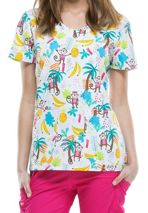 The cheerful Let's Monkey Around scrub top from the trusted Dickies EDS brand will bring lots of smiles to your office! This fun scrub top is highlighted by a colorful print featuring monkeys, bananas, pineapples, trees, and more. Two roomy front pockets give you plenty of space to hold your accessories. Dickies EDS Let's Monkey Around Print Scrub Tops V-neck Two patch pockets Back darts Side slits Medium center back length 26
