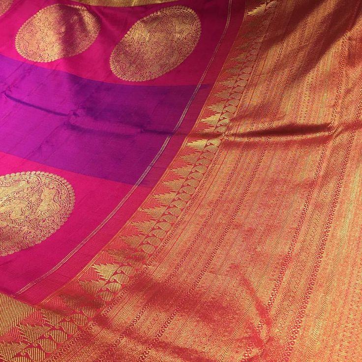 We love Kanjeevarams! The deep hues, rich pure Zari ( pure gold and silver dipped thread) and intricate motifs inspired by beautiful temples of Tamil Nadu... How can a woman resist? #angadibride #angadigalleria #bangalore #karnataka #bride #bridal #bridalmusthaves #trousseau #weddingsaree #bangaloreblogger #Tamilnadu #kanjeevaram #saree #sari