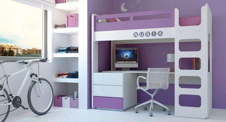 Dormitorios juveniles para ni os color purple muebles for Escritorios para ninos uruguay