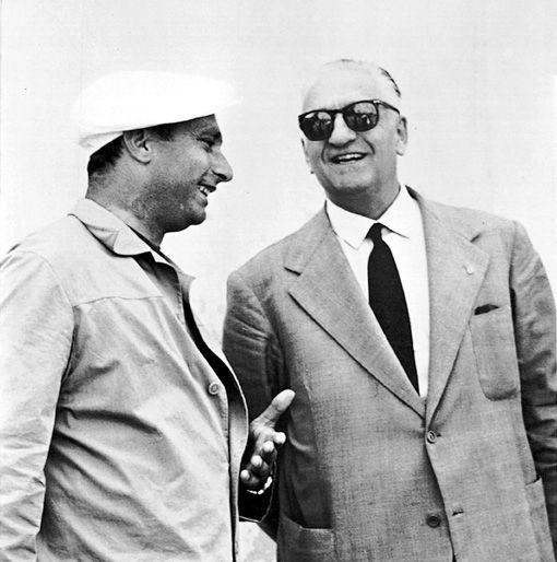 Juan Manuel Fangio and Enzo Ferrari