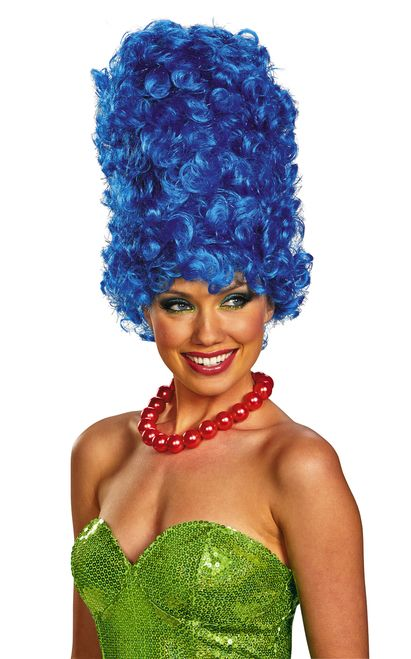 """""""Hrmm."""" - Marge Simpson's iconic blue beehive-style 'do also contains strands of…"""