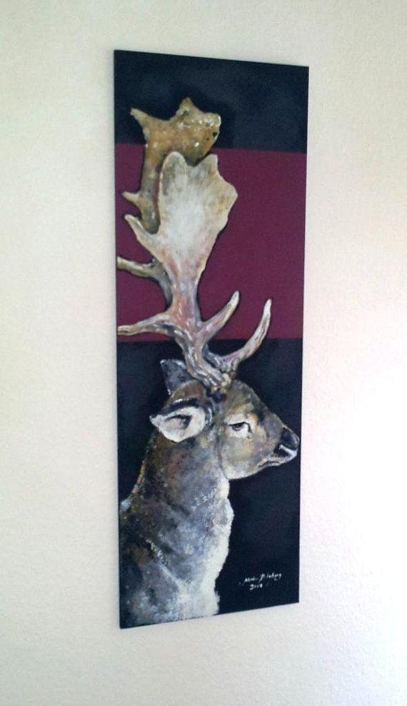 Malerei Hirsch Original Acryl Auf Holz Acrylmalerei Leinwand