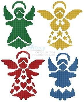 Angel Silhouettes Cross Stitch Pattern