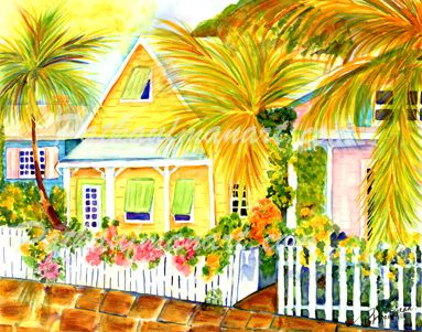 cottages and beach living paintings Cottage by the Sea I