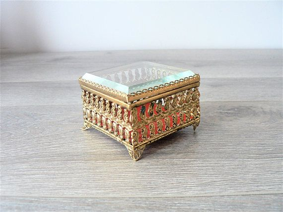 Vintage Gold Filigree Ring Box with Beveled Glass Lid