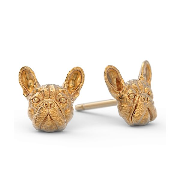 [video][/video] These amazing little French Bulldog Earrings are adorable. These puppies are available in Sterling Silver and in 14k Gold. The silver version has a lightly hand burnished oxidized fini