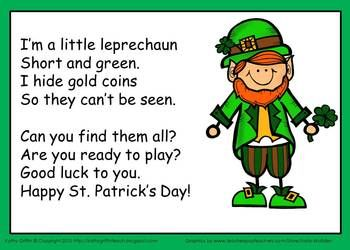 St. Patricks Day Leprechaun Song and Gold Hunt Activity