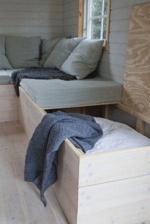 //basement seating instead of a couch - doubles as extra sleeping