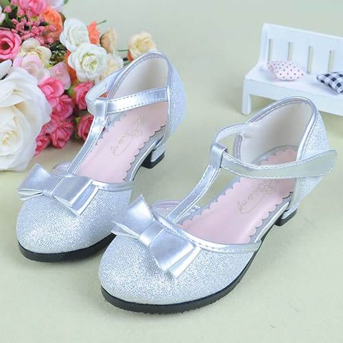 Silver Sequin T Strap Flower Girl Girls First Communion Heels Shoes SKU-133208