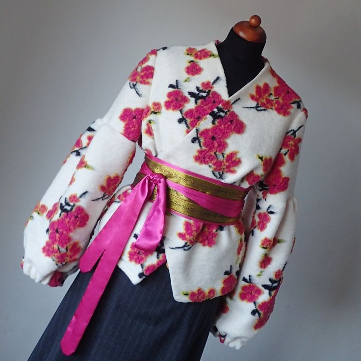 woolen jacket, wool, sakura, pink and gold, Hanami, Cherry, tree