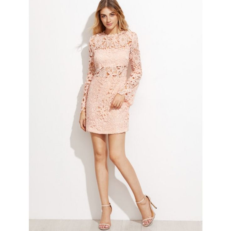 Kleid 2017 Cut Out mit bestickte Spitze Rosa