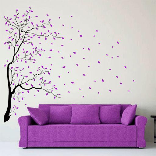 Vinilo de rbol con hojas cayendo una manera muy original for Vinilos pared entera