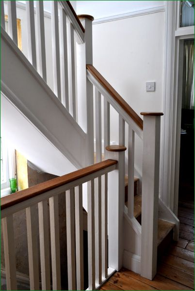 Ditton Court Staircase - This softwood staircase leading up to a loft conversion was made to match the ground floor stairs using 35mm pine spindles and newels with specially made caps and handrail by our customer.