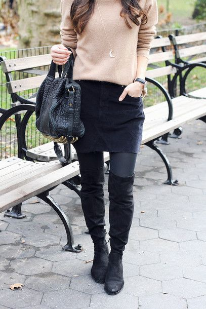 skirt tumblr mini skirt suede suede skirt tights opaque tights bag black bag boots black boots over the knee boots thigh high boots flat boots sweater beige sweater crescent pendant pendant necklace jewels jewelry