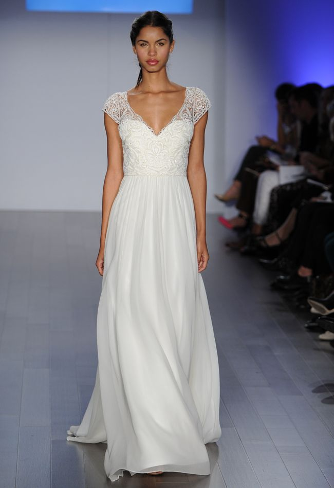 A-Line Wedding Dress with Lace Bodice | Jim Hjelm Wedding Dresses Spring 2015 | Kurt Chiffon Wilberding | blog.theknot.com
