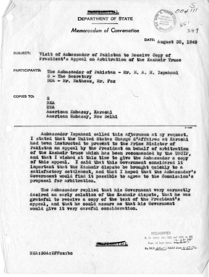 Department Of State Memorandum Of Conversation Date August