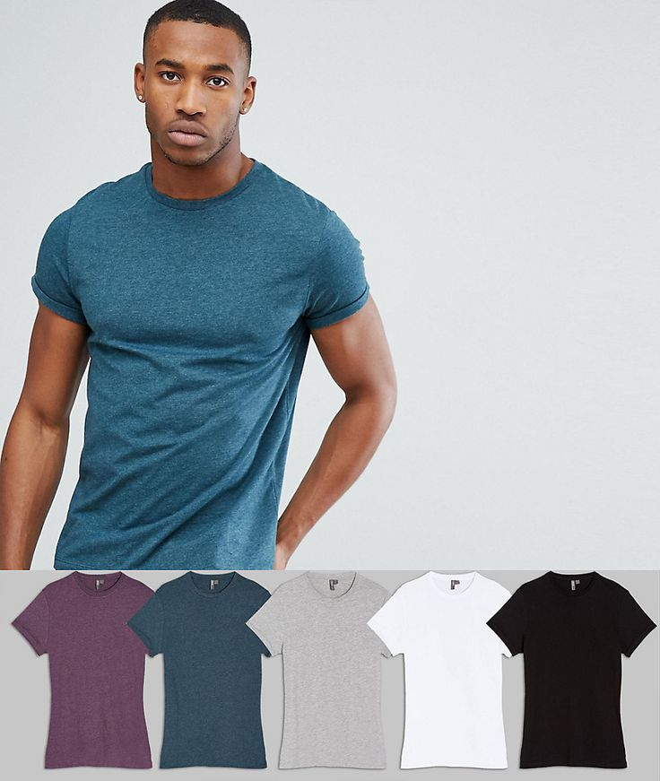 ASOS Crew Neck T-Shirt With Roll Sleeve 5 Pack SAVE - Multi