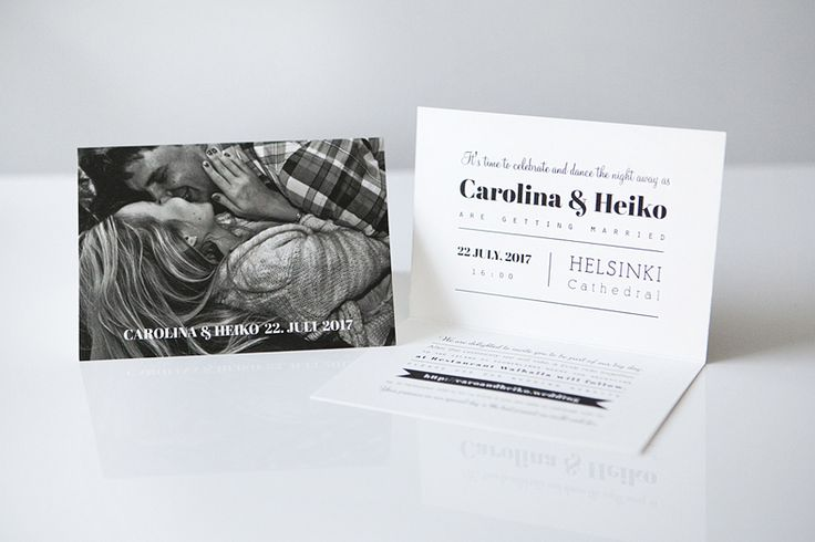 Custom made weddign stationery by www.makeadesign / wedding invitation / black and white wedding / mustavalkoiset häät / hääkutsu